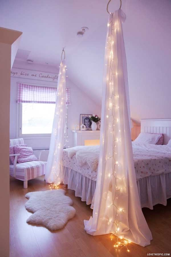 bedroom-easy-diy-attic-bedroom-design-ideas-with-white-wooden-headboard-and-hanging-white-curtains-featuring-led-lights-combine-with-wooden-flooring-and-white-fur-rug-easy-and-eye-catching-diy-b