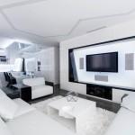 Futuristički stan u crno-bijeloj kombinaciji