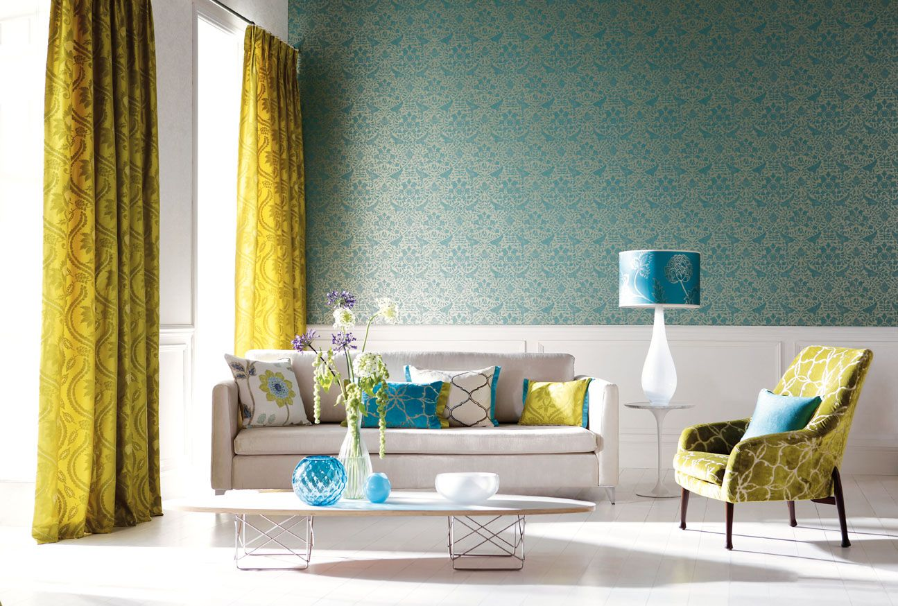 fresh-house-designs-blue-wallpaper-in-elegant-living-room-with-showy-decor