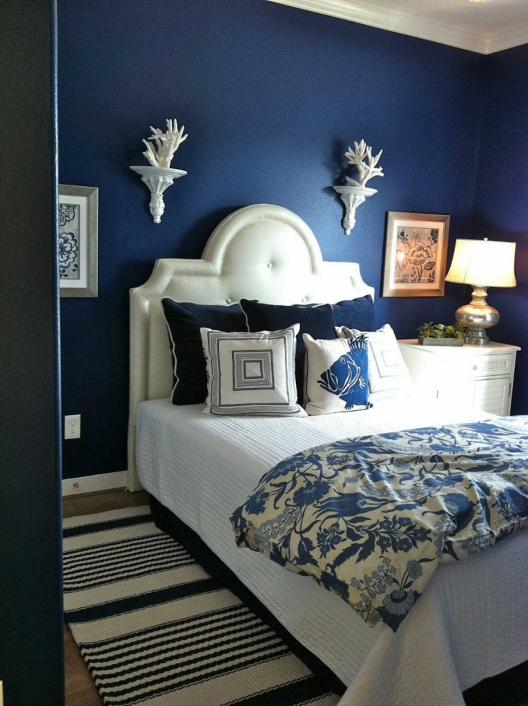 bedroom-delightful-blue-boy-bedroom-idea-using-navy-blue-paint-color-for-kid-bedroom-along-with-curve-white-leather-headboard-and-blue-stripe-rug-in-bedroom-fetching-paint-color-ideas-for-kid-bedroom
