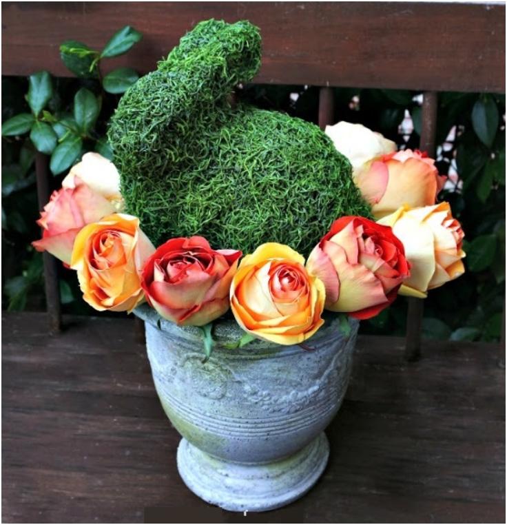 uskrsnja dekoracija ruze i zeko