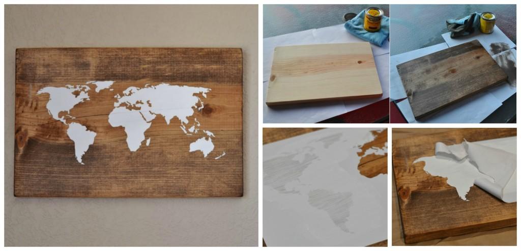 drveni ukrasi za zid mapa svijeta