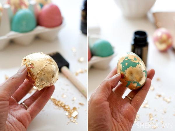 kako ukrasiti jaja zlatnim listicima