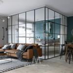 Ovaj moderni mali stan ima sobu u staklu
