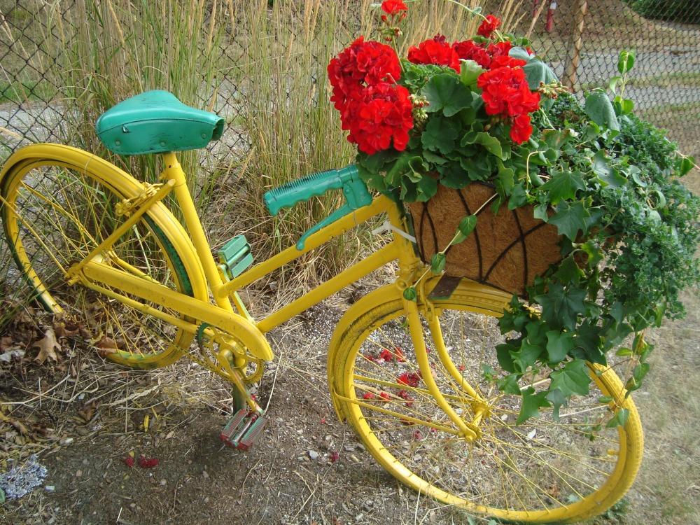 bicikl kao drzac za cvijece