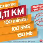 m:tel Moj Mix MINI tarifa u pola cijene! Platite samo 11,11 KM, a koristite puni bonus